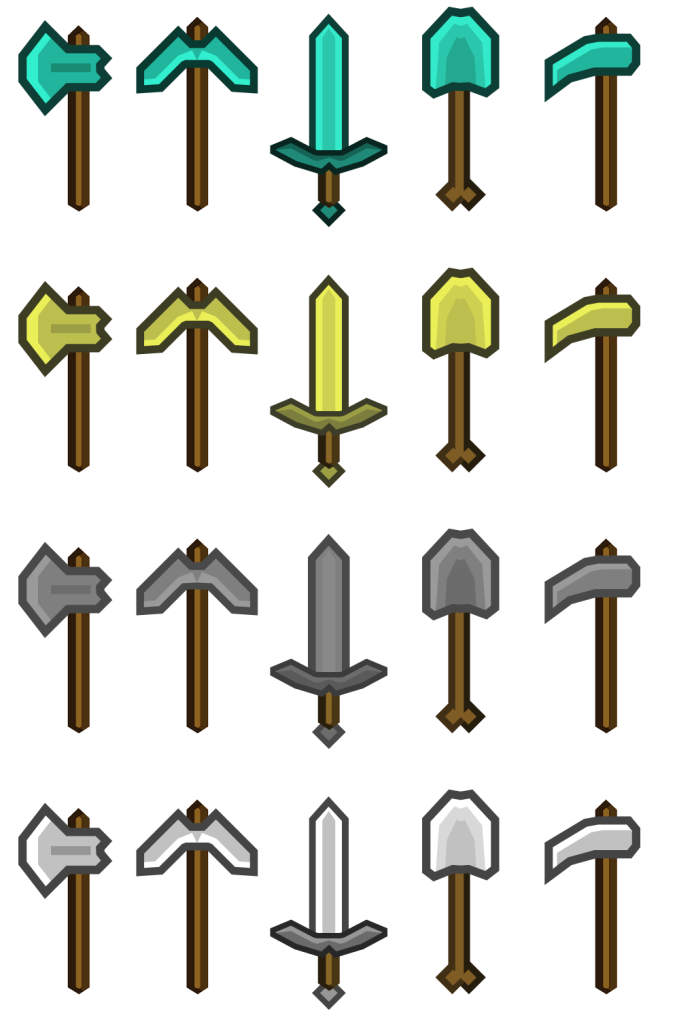 Minecraft Tools - Sword, Axe, Pickaxe, Shovel in diamond, stone, silver, gold