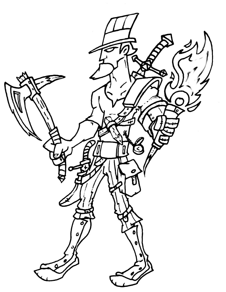 Uncle Same Hunter Line Art